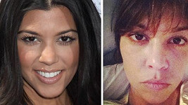 Kourtney Kardashian s make-upem a bez něj.