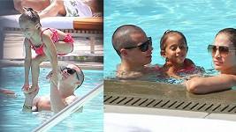 Jennifer Lopez s Casperem Smartem a její dcerou Emmou.