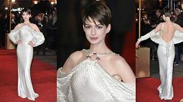 Anne Hathaway v Lodnýně na premiérovém promítání Bídníků.