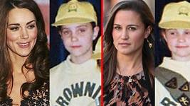 Kate a Pippa jako členky Brownies a dnes.
