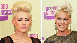 Miley Cyrus a Pink s podobnými účesy.
