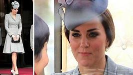 Vévodkyně Kate výjimečně stáhla své bohaté kadeře do culíku.