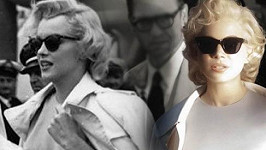Vlevo Marilyn Monroe, vpravo Michelle Williams jako Marilyn.