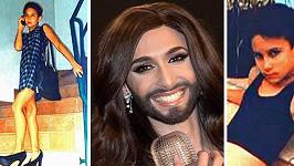 Současná a dětská podoba Conchity Wurst