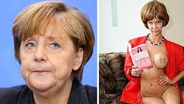 Micaela Schaefer se ve svém kalendáři 'převtělí' do kancléřky Angely Merkel.