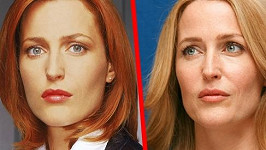 Gillian Anderson v Aktech X a dnes.