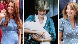 Kate i Carole si oblékly do porodnice podobné šaty, které měla na sobě před 31 lety princezna Diana.