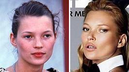 Kate Moss jako teenagerka a čtyřicátnice