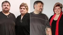 Matoušovi před a po dietě. Prsa Michala už mizí, z Jany je fešanda.