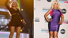 Christina Aguilera dnes a před rokem.