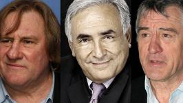 Podobají se Dominique Strauss-Kahnovi (uprostřed)? Vlevo Gérard Depardieu, vpravo Robert De Niro.