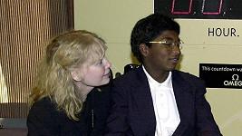 Mia Farrow se synem Thadeussem a Tedem Turnerem na konferenci OSN