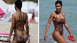 Teyana Taylor vyrazila na pláž v odvážných plavkách.