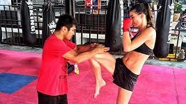 Monika na tréninku boxu