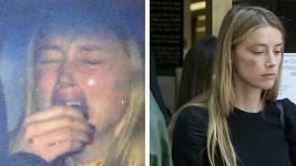 Amber Heard před soudem a krátce po něm.