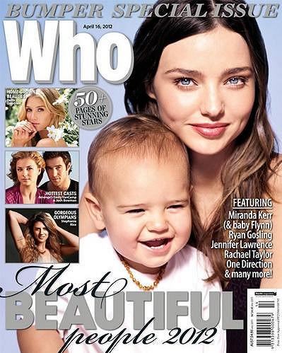 Miranda Kerr se synem Flynnem na obálce časopisu Who.