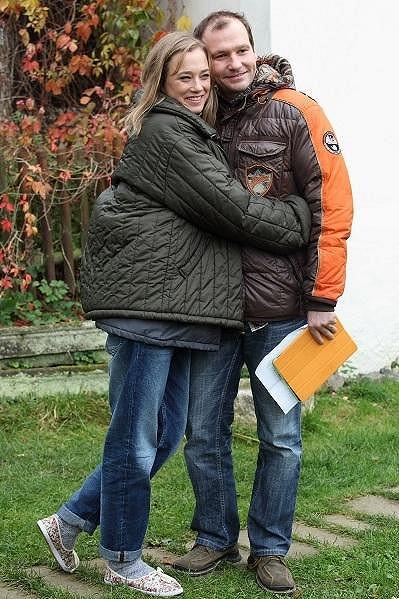 Kristýna Boková s Markem Taclíkem při natáčení filmu Martin a Venuše.