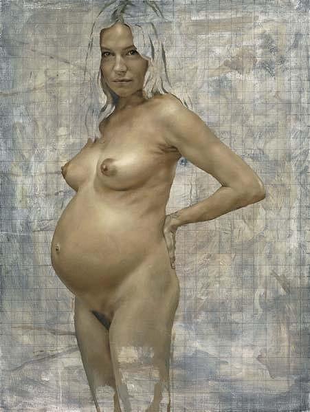 Nahá těhotná Sienna Miller na obrazu malíře Jonathana Yeo.
