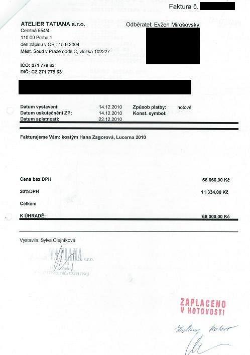 Faktura, která potvrzuje, že Mirošovský šaty zaplatil ze svého.