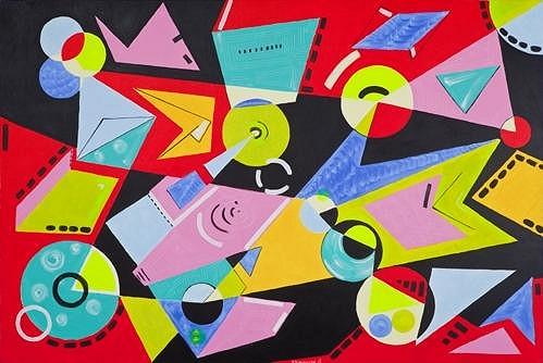 Dagmar tvoří hlavně abstraktní obrazy.