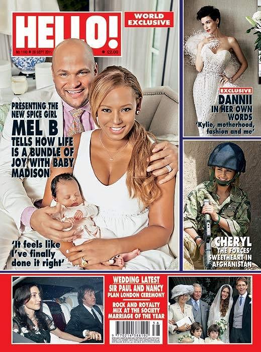 Mel B se s manželem a malou Madison nechala nafotit na obálku magazínu Hello!.