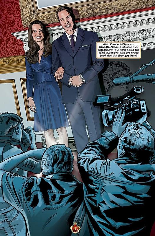William a Kate jako hvězdy komiksu.