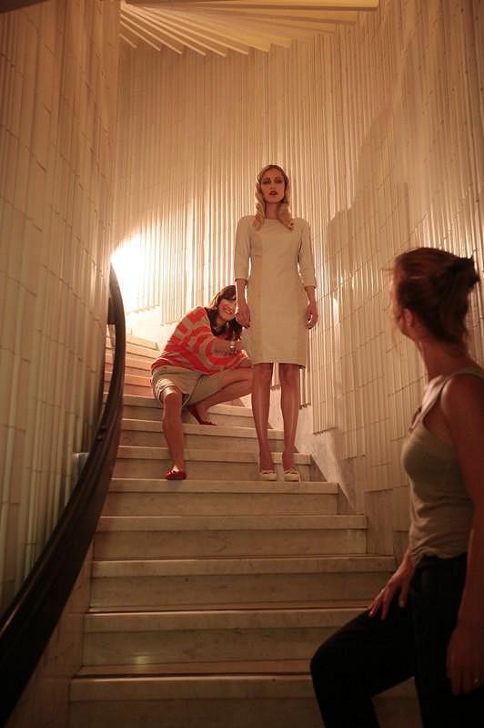 Fotilo se i na schodišti Ještědu.