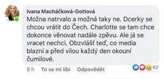 Text, který se objevil na profilu falešné Ivany Gottové.