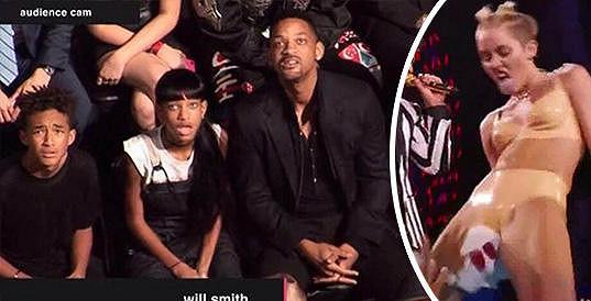 Šokovaní Smithovi sledovali show Miley Cyrus.