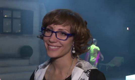 Olga Lounová na zkoušce muzikálu.