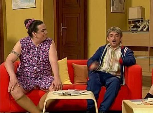 Richard Genzer a Michal Suchánek v pořadu Tele Tele jako manželé Kopečkovic