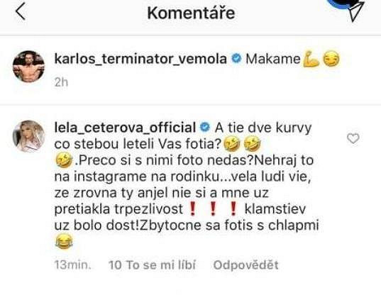 Její komentář pod partnerovou fotkou už z Instagramu zmizel.