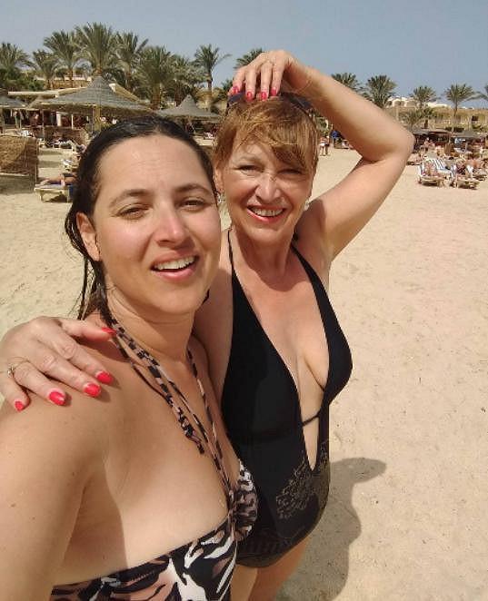 S dcerou Bárou na dovolené v Egyptě.