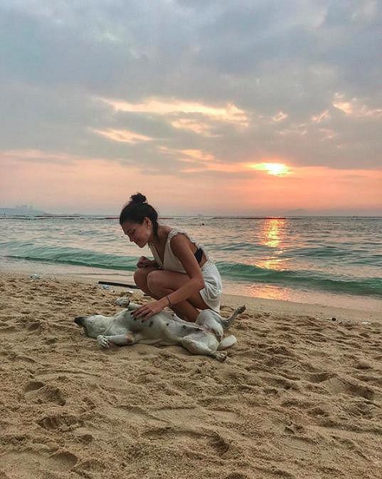 Na pláži v Pattayi