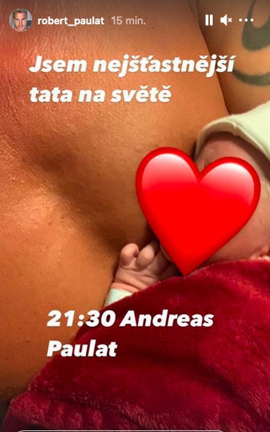 Andreas přišel na svět o půl desáté večer.