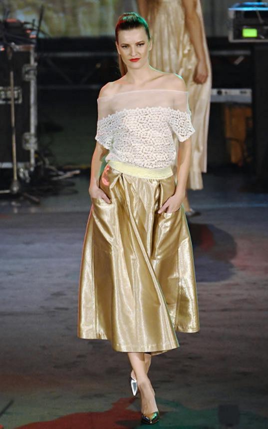 Na módní přehlídce Rajské nemohla chybět její oblíbená modelka Veronika Chmelířová.