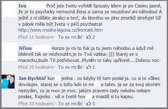 Ukázka komunikace Jana Rychtáře coby administrátora oficální stránky Ivety Bartošové.