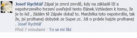 Takhle vulgárně se Rychtář vyjadřuje na facebookové stránce Iveta Bartošová - Jediné pravé oficiální antistránky.