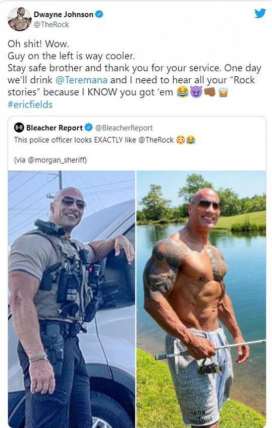 Snímek Erica Fieldse (vlevo) okomentoval The Rock slovy úžasu. A poručíkovi poděkoval za službu veřejnosti.