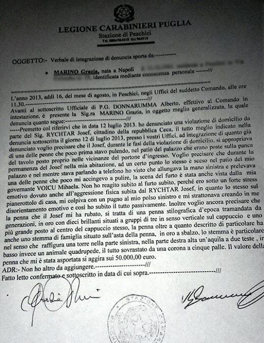 Trestní oznámení podané v Itálii