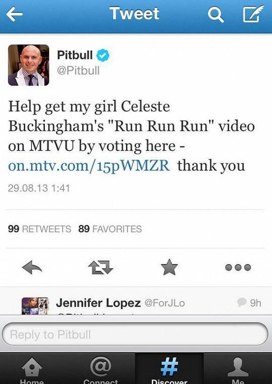 Pitbull se už pochlubil spoluprací s Celeste prostřednictvím sociální sítě Twitter.