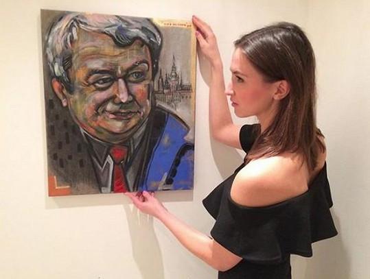 Lucie Gelemová namalovala šéfa komunistů Vojtěcha Filipa.