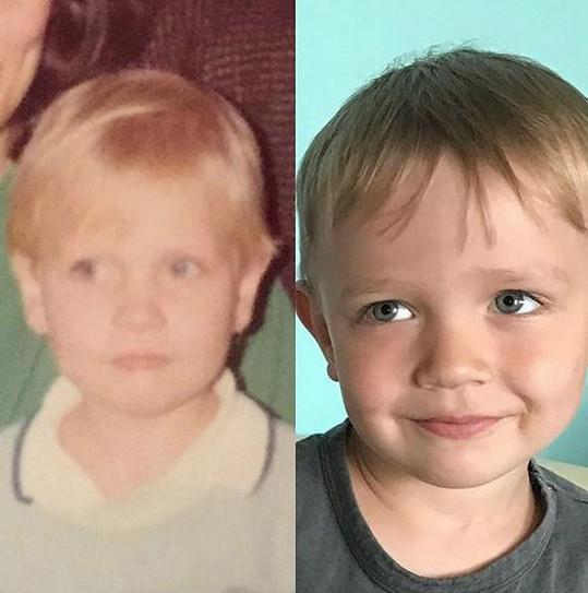 Michaela Ochotská jako malá holčička na archivním snímku (vlevo) a její syn André. Podoba je neskutečná.
