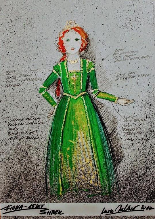 Nákres kostýmu princezny Fiony.