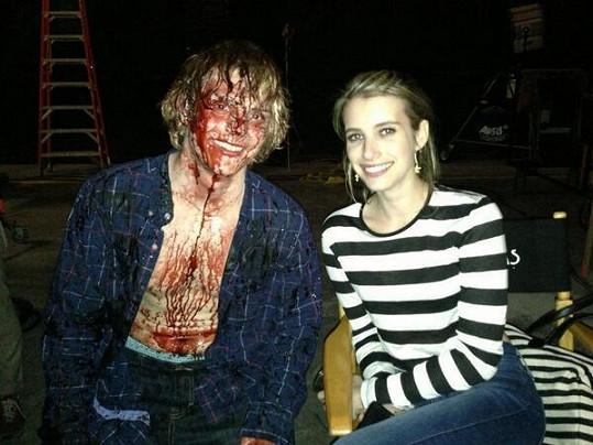 Herecký pár na natáčení seriálu American Horror Story