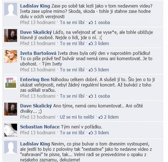 Ukázka komunikace fanoušků na Facebooku Ivety Bartošové.
