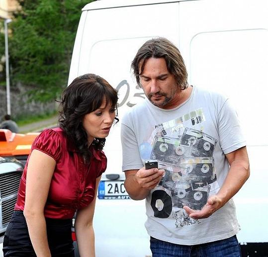 Tereza Kostková s Martinem Trnavským před natáčením.