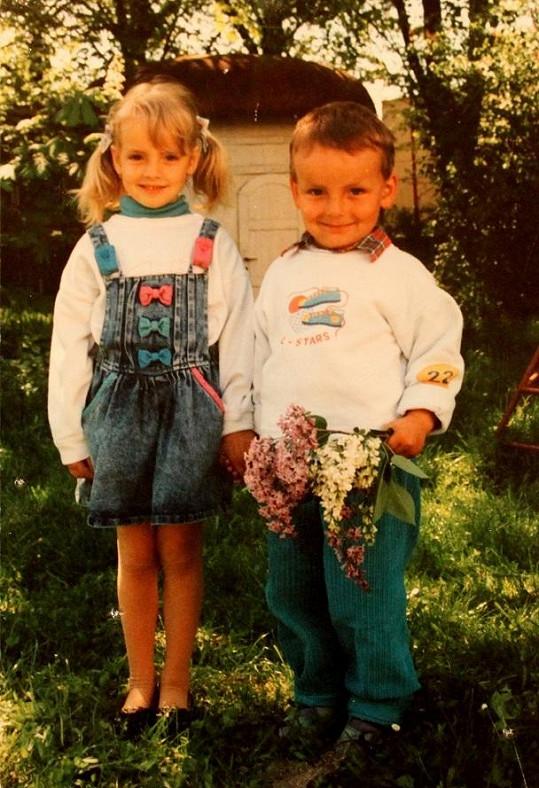 Gabriela Kratochvílová s bratrem.