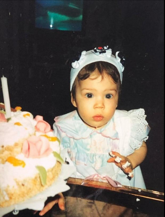 Eva Perkausová, když slavila své první narozeniny.