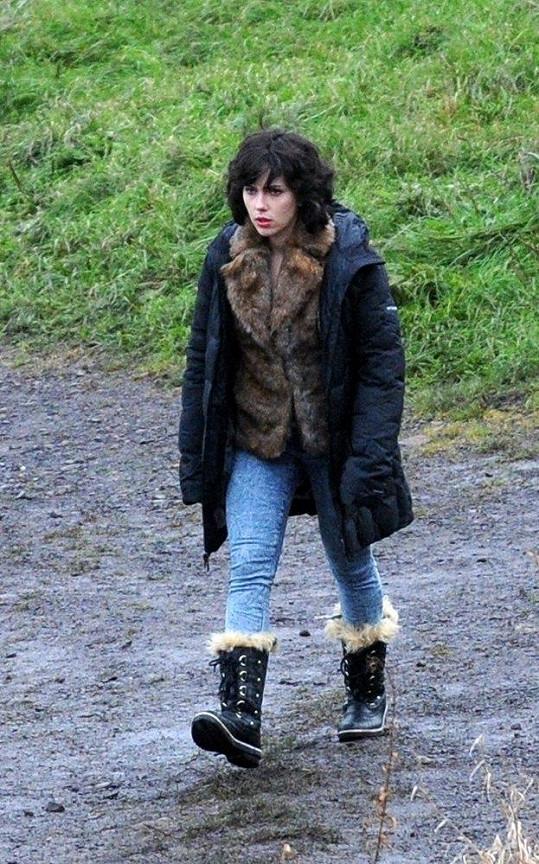 Scarlett Johansson při natáčení filmu Under the Skin.
